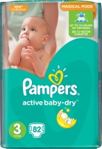 Подгузники Pampers Active Baby 3 (5-9 кг) 82 шт
