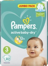 Подгузники Pampers Active Baby 3 (6-10 кг) 82 шт