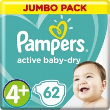 Подгузники Pampers Active Baby 4+ (10-15 кг) 62 шт