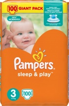 Подгузники Pampers Sleep&Play 3 (5-9 кг) 100 шт
