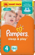 Подгузники Pampers Sleep & Play 4 (8-14 кг) 86 шт