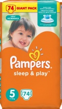 Подгузники Pampers Sleep & Play 5 (11-18 кг) 74 шт