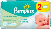 Влажные салфетки Pampers Naturally Clean 128 шт
