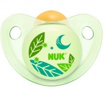 Пустышка Nuk Night & Day для сна латекс. ортодонт. 0-6 мес, листочки