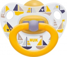Пустышка Nuk Classic Happy Kids Кораблики латекс ортодонтическая с 6 до 18 мес