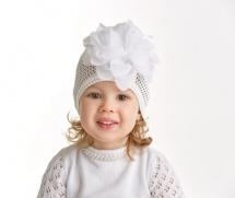 """Шапка детская """"Каролина"""", белая с белым цветком, Журавлик"""