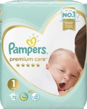 Подгузники Pampers Premium Care 1 (2-5 кг) 72 шт