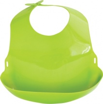 Нагрудник Lubby пластиковый c отворотом, салатовый