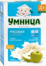 Каша Умница молочная рисовая с яблоком с 4 мес 200 г