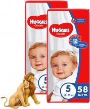 Набор подгузников Huggies Classic 5 (11-25 кг) 2 пачки по 58 шт