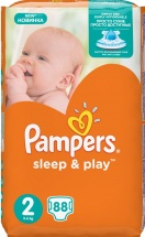 Подгузники Pampers Sleep&Play 2 (3-6 кг) 88 шт