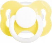 Пустышка Lubby Желтая латекс ортодонтическая с 3 мес