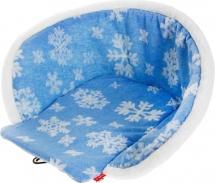 Сиденье для санок меховое Ника Снежинки, голубой