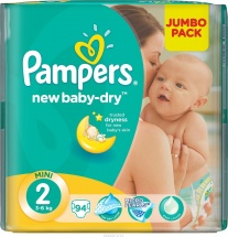 Подгузники Pampers New Baby 2 (3-6 кг) 94 шт