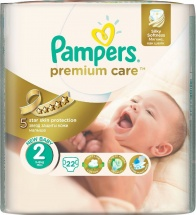 Подгузники Pampers Premium Care 2 (3-6 кг) 22 шт
