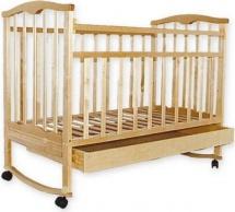 """Кроватка """"Золушка- 2"""", колесо-качалка, ящик, слоновая кость, Агат"""