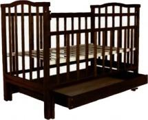 Кроватка Агат Золушка-4 маятник поперечный с ящиком, шоколад