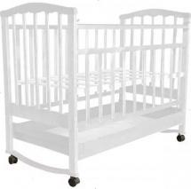 Кроватка Агат Золушка-2 колесо-качалка с ящиком, белый