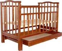 Кроватка Агат Золушка-4 маятник поперечный с ящиком, орех