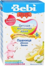 Каша молочная пшеница-яблоко-банан, Premium, с 6 мес., 250гр., Bebi