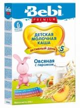 Каша молочная овсяная с персиком, Premium, с 5 мес., 250гр., Bebi