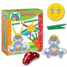 """Игра с липучками и прищепками """"Зайка"""", Первые игры малышей, Vladi Toys"""