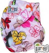 Многоразовый подгузник GlorYes Optima (3-18 кг) цветы