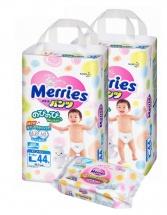 Трусики Merries L (9-14 кг) 44шт 2 уп. + салфетки
