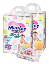 Трусики Merries M (6-10 кг) 58 шт 2 уп. + салфетки