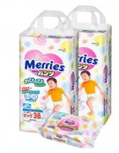 Трусики Merries Big (12-22 кг) 38 шт 2 уп. + салфетки