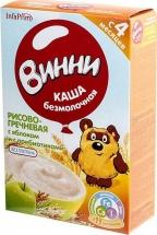 Каша безмолочная Рисово-гречневая с яблоком и с пребиотиками с 4 мес., 220 гр., Винни