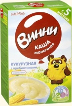 Каша Винни молочная кукурузная с пребиотиками с 5 мес 220 г