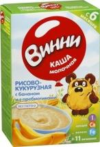 Каша Винни молочная рисово-кукурузная с бананом,с пребиотиками с 5 мес 220 г