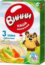 Каша молочная 3 злака с фруктами с 6 мес., 200 гр., Винни