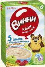 Каша Винни молочная 5 злаков с яблоком и малиной с 6 мес 200 г