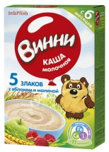 Каша молочная 5 злаков с яблоком и малиной с 6 мес., 200 гр., Винни