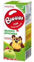 """Сок """"Яблоко-брусника осветленный"""" с 5 месяцев 200 мл., Винни"""