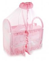 """Кроватка """"Нежность"""", с люлькой и балдахином, Розовый"""