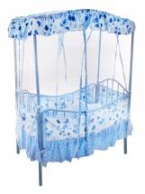 """Кроватка """"Мамина радость"""", с люлькой и балдахином, Голубой"""