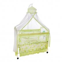 """Кроватка """"Комфорт"""", с люлькой и балдахином, Зелёный"""