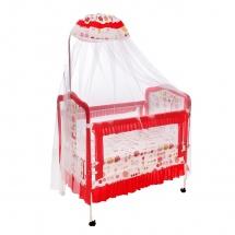 """Кроватка """"Цветные сны"""", с пеленальным столиком, Красный"""