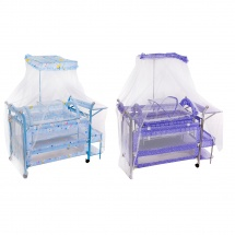 """Детская кроватка """"Мамина нежность"""", с балдахином, люлькой, кармашками и пеленальным столиком, цвета МИКС"""