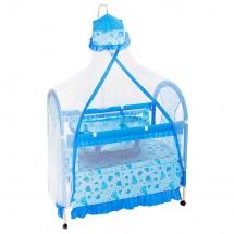 """Кроватка """"Комфорт"""", с люлькой и балдахином, Голубой"""