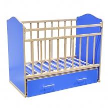 """Кроватка """"Морозко"""", поперечный маятник, ящик, Синий, ВДК"""