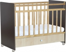 Кроватка Фея с ящиком, венге/клён