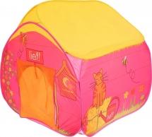 Палатка Деревенский домик, розовый-желтый
