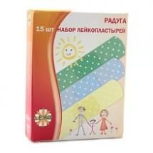 """Лейкопластырь бактерицидный """"Радуга"""", 1,9x5,5см, 15шт., Leiko"""