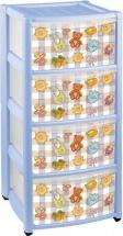 Комод для игрушек Пластишка 4 ящика, голубой