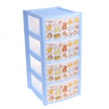 Комод для игрушек, 4 ящика, голубой, Пластишка