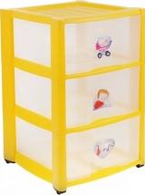 Комод для игрушек Пластишка с аппликацией 3 ящика, желтый